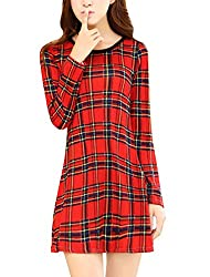 Ladies Plaids Long Sleeve Round Neck Casual Tunic Dress Red XS