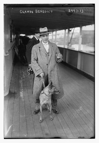 Photo: Claude Benedict,man with pet dog,camera,leash,Bain News Service,deck of - Pictures Of Bain