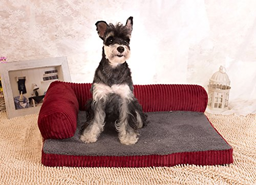 21' Pillow (Grape Pet Shore Premium Pet Bed Large Dog Bed & Removable Cover Includes Pillow (Small(21''6 x 17''7 x 6''), Wine Red))