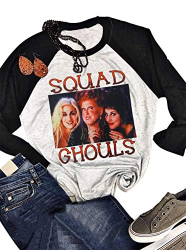 NATAY Halloween Squad Ghouls Hocus Pocus Baseball T-Shirt Tee Women's Sanderson Sisters Letter Print Graphic Color Block Blouse Top Costume (Large, Light Grey)