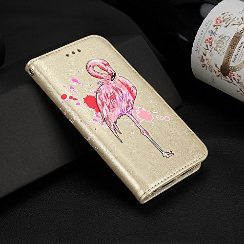 Galaxy S7 Lederhülle,Galaxy S7 Flip Schutzhülle,Leeook Pretty Schön Kreative Glänzend Glitzer Bling Rosa Flamingo Malerei Muster Entwurf Klappetui Magnetverschluß Kartenfächer Brieftasche Schutzhülle  Rosa Flamingo,Gold