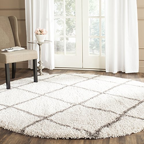 Safavieh Hudson Shag Collection SGH281A Ivory and Grey Moroc
