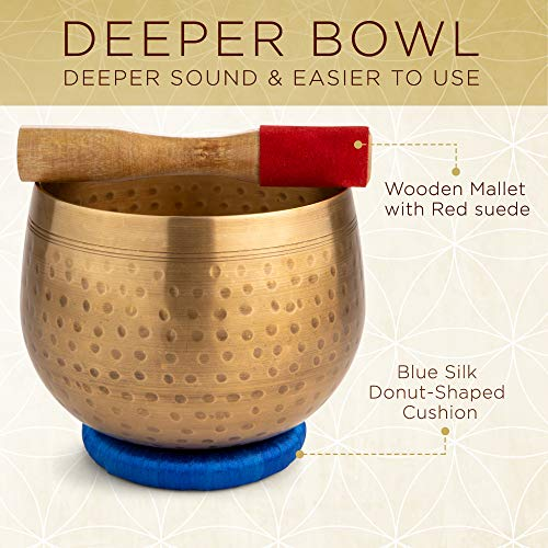 Meditative Brass Singing Bowl with Mallet and Cushion - Tibetan Sound Bowl for Energy Healing, Mindfulness, Grounding, Zen, Meditation - Exquisite, Unique Home Decor and Gift Sets by Telsha (Image #2)