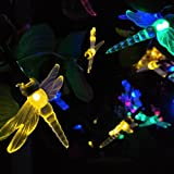 Dragonfly Solar String Lights 33ft 10M 60 LED 2 Modes Fairy Lights with Sensor for Outdoor, Gardens, Homes, Wedding, Christmas, Party and Holiday Decor(Multi-color)