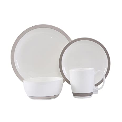 WhitePeony Linen 16-Piece Classic Durable Bone China Dinnerware Set Elegant Service for  sc 1 st  Amazon.com & Amazon.com | WhitePeony Linen 16-Piece Classic Durable Bone China ...