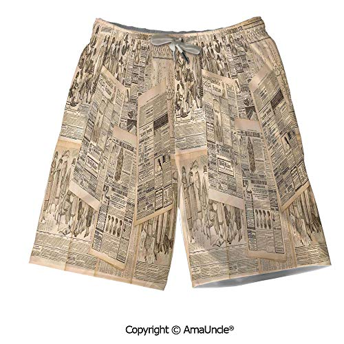 AmaUncle Casual Style Swim Trunks Boardshorts,Newspaper Pages with Advertising and Fashio ()