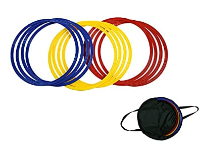 "Trademark Innovations Speed & Agility Training Rings - Set of 12 - 16"" Diameter - With Carrycase - (Multicolor)"
