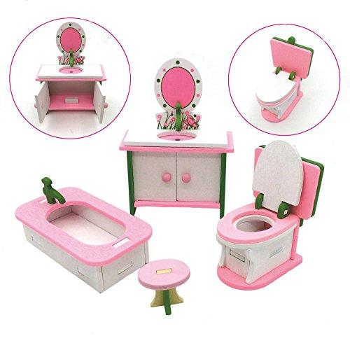 X Hot Popcorn Wooden Colorful Dolls House Furniture Toys Set Miniature Models Kids DIY Assembled Toys (Bathroom Room) ()