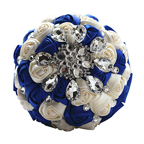 Moleya 7 Inch Customization Romantic Royal Blue Wedding Bride Holding Bouquet with Satin Roses and -