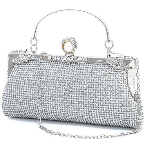 Ladies Sparkling Rhinestone Wedding Evening Party Clutch Handbag Purse Chain Shoulder Crossbody Bag (Silver-style2) ()