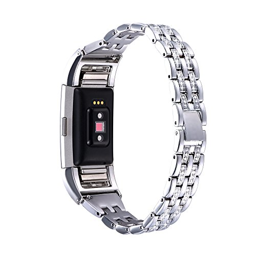 - Bandmax Compatible Fitbit Charge 2 Bands Silver,Adjustable Double Row Clear Rhinestone Metal Wristband with Folding Clasp Bracelet Compatible Fitbit Charge 2