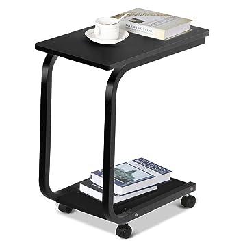 amazon com go2buy 2 tier portable rolling sofa side end table with rh amazon com Sofa Tray Table Side Coffee Slide Under Sofa Table