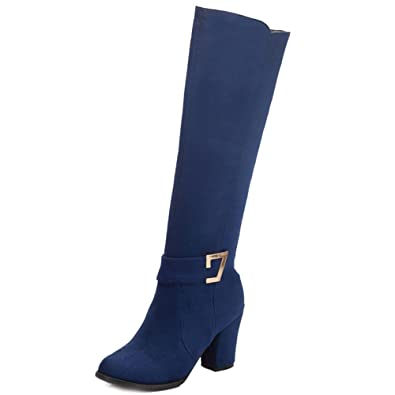 e24cd7dcb18 SJJH Women Knee-High Boots with Chunky Heel and Suede Material Women Boots  with Large Size and 3-Colors Available  Amazon.co.uk  Shoes   Bags