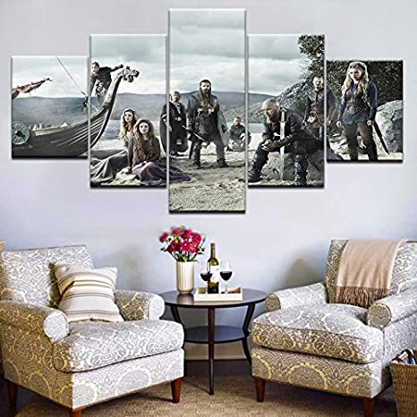 Impressions sur Toile 5 Piece TV Series Vikings Poster Modern Home Decor Painting Canvas Art HD Print Painting Canvas Wall Modular Picture-Cadre