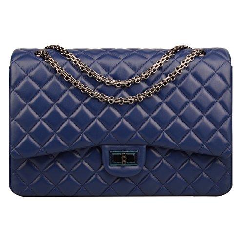 Ainifeel Women's Quilted Oversize Genuine Leather Shoulder Handbag Hobo Bag Purse (X-Large, Dark blue with gunmetal hardware) (Gunmetal Hardware)
