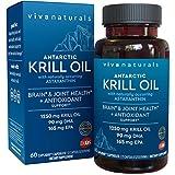 Viva Naturals Krill Oil - 100% Pure Antarctic Krill Oil, 1250 milligram/serving, 60 Capliques