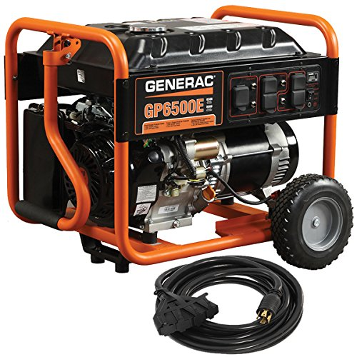 Generac 6515 GP6500E 6500 Running Watts/8000 Starting Watts Electric Start Gas Powered Portable Generator with Cord (Generac Generator Gas)