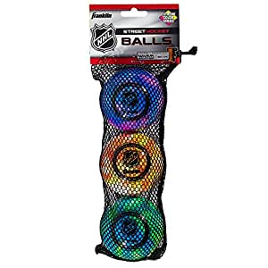 Franklin Sports Extreme Color Street Hockey Ball - NHL - High Density - 3 Pack - Assorted Colors
