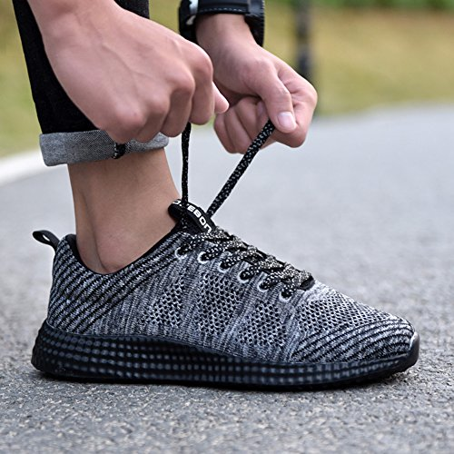 TIOSEBON Mens Lightweight Athletic Walking Casual Sneakers Lace-Up Running Sports Shoes 8258 Gray j6s4gJoE0