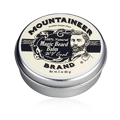 Magic Beard Balm Leave-in Conditioner by Mountaineer Band | Natural Oils, Shea Butter, Beeswax Nourishing Ingredients | 2-oz WV Coal Scent