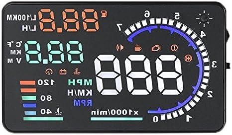 KKmoon A8HUD Sistema HUD de 5.5 pulgadas para proyectar en las parabrisas de advertencia de exceso de velocidad con interfaz OBD2