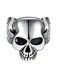 XIEXIE Silver Punk 316LStainless Steel Men Ring Vintage Skull Head Men Jewelry retro bague homme