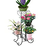 Plant Stand,UNHO Metal Flower Display pots Outdoor Garden Plant Holder with 4 Tier Shelves for Indoor Black