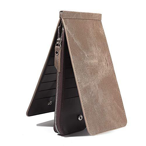 - Women's RFID Blocking Denim Style Leather Zip Wallet Multi Card Organizer Purse Credit Card Holder (Grey)