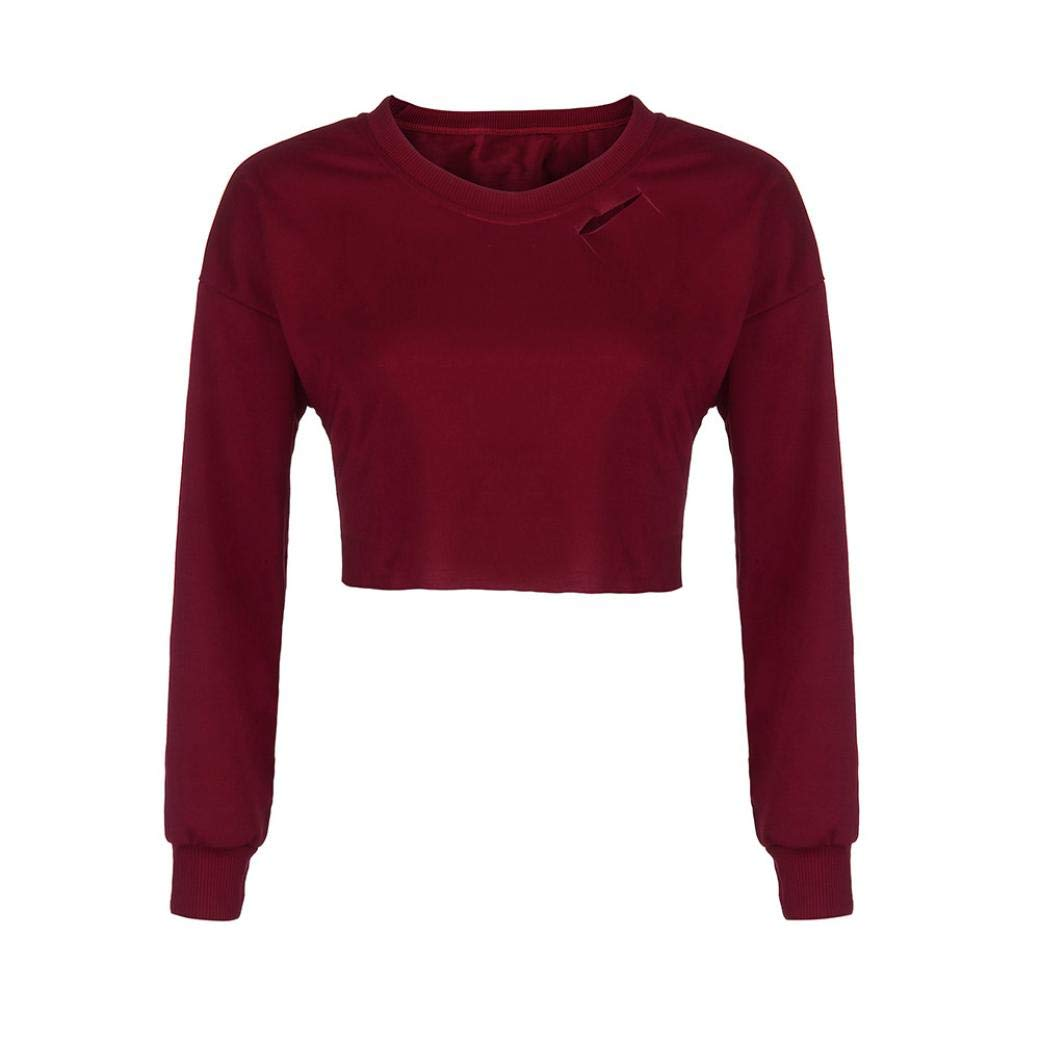 Kalmstore Women's O-Neck Cut Out Tee Top, Casual Long Sleeve Hooded Sweatshirt Jumper Pullover Top Blouse (L, Wine)
