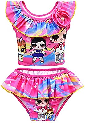 Rohero Toddler Baby Girls Swimsuits Two Piece Doll Print Ruffle Swimwear Bathing Suit for Doll Surprised Beach Tankinis