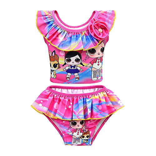 Rohero Toddler Baby Girls Swimsuits Doll Print Ruffle Tulle Swimwear Bathing Suit for Doll Surprised (120cm/ 5-6Y, Rose)