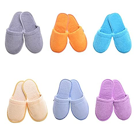 Minteks Hotel Spa Slippers for Women and Men, Washable Cotton Guests Slipper in Bulk Closed Toe Fit Sizes Btw 7-10 (Cream | 6 Pairs) Minteks Tekstil San ve Tic LTD. Sti.