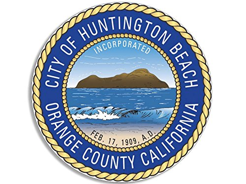 Huntington Beach Orange County California City Seal Sticker (decal logo ca west coast)