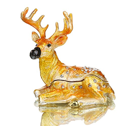 YU FENG Cute Deer Trinket Box Hinged for Girls Animal Figurine Collectible Wedding Ring Holder Favor Metal Table Centerpiece