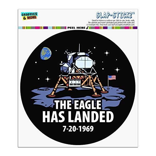 Graphics and More NASA Apollo 11 The Eagle Has Landed Moon Landing Automotive Car Window Locker Circle Bumper Sticker ()