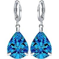 Women Fashion 925 silver Blue Topaz Hoop Stud Dangle Earrings Wedding Jewelry