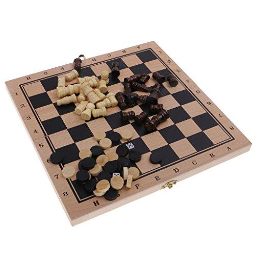 【ノーブランド品】 木製 折りたたみ ボードゲーム チェスセット チェッカー バックギャモン 3点セット おもちゃ