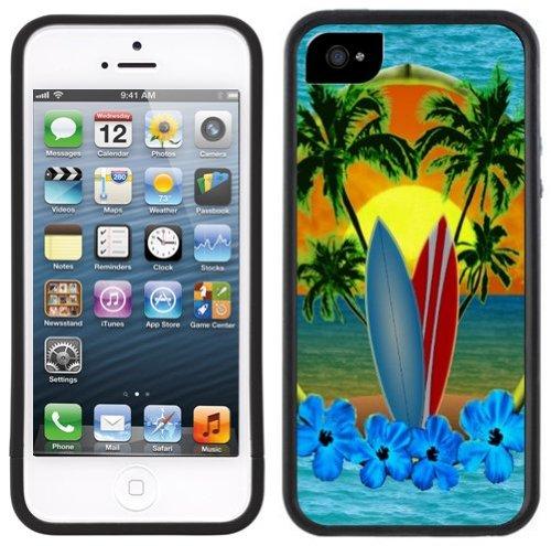 Planche de surf Hawaï | Fait à la main | iPhone 5c | Etui Housse noir