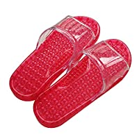 Acupressure Slimming SPA Massage Shoes Slipper Bathroom Washing Shower Slipper Sandal Color Purple/Green/Blue/Red (red), Medium size