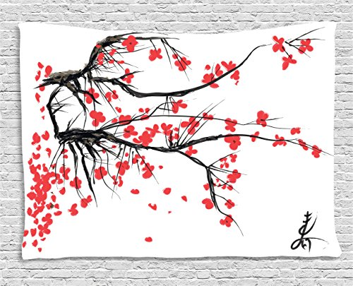 Ambesonne Nature Tapestry, Sakura Blossom Japanese Cherry Tree Garden Summertime Vintage Cultural Print, Wall Hanging for Bedroom Living Room Dorm, 80 W X 60 L Inches, Grey and (Japanese Tapestry)