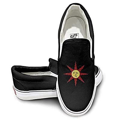 ZHEME Sun Logo Athletic Unisex Flat Canvas Shoes Sneaker Black