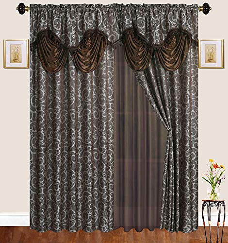 Elegant Home Window Two Panel Curtains Drapes All-in-One Set with Valance & Sheer for Living Room, Bedroom, Dining Room, or Any Small Window # 189 (63'' Length, Brown/Coffee) by Elegant Home Decor