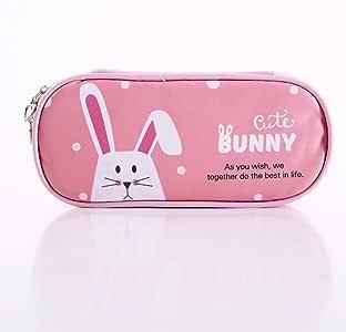 Animal Big Pencil Bag Multifuncional Stationery Bag Pu Pencil Bag Cartoon Student Stationery Estuche De Lápices Pink Rabbit: Amazon.es: Oficina y papelería