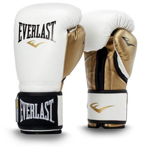 Everlast プレミアムレザーパワーロックフック&ループトレーニンググローブ (ホワイト/ゴールド 10オンス) B07FKTD3SG