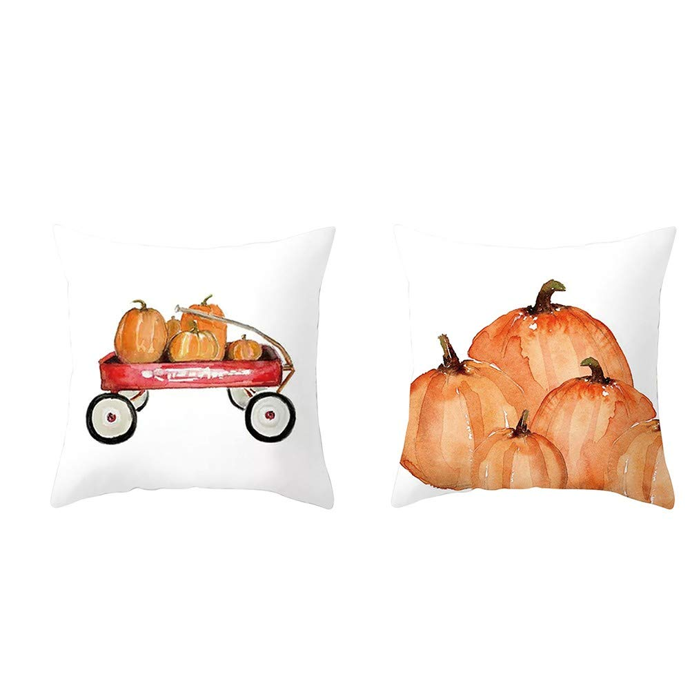 Ratoop 45cm45cm Cotton Pillowcase, 2Pcs Pumpkin Throw Pillow Case Cushion Cover Cotton Linen Halloween Thanksgiving Home Decor (Multicolor, 45 X 45cm)