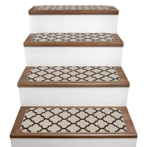 House, Home and More Set of 15 Skid-Resistant Carpet Stair Treads - Moroccan Trellis Lattice - Vanilla Cream & Coffee Brown - 9 in. X 36 in.