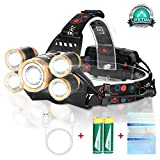 Rechargeable Headlamp Flashlight,12000 Lumen Bright LED Work Head Lamp,Brightest USB Rechargeable Headlight,4 Modes Waterproof Zoomable Headlamps Best for Outdoors Camping Hunting Hiking Hard Hat