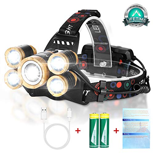 (Rechargeable Headlamp Flashlight,12000 Lumen Bright LED Work Head Lamp,Brightest USB Rechargeable Headlight,4 Modes Waterproof Zoomable Headlamps Best for Outdoors Camping Hunting Hiking Hard)
