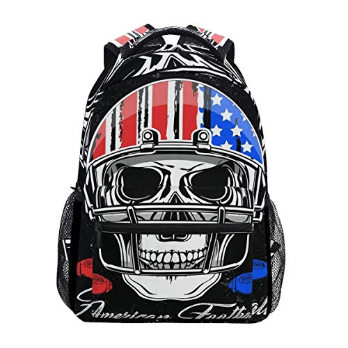 Vintage American Flag Football Skull Backpack Travel School