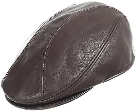 e404b921bb667 London Driving Classic Leather Unique Ivy Caps Hat Dress 7 1/2 Chocolate